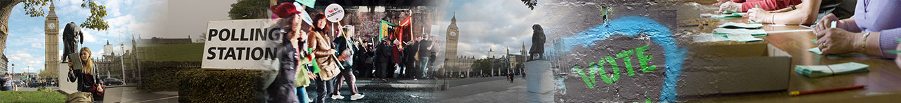 Parliament Square, Polling Station, Pressure Groups, Churchill Statue, Voting banner